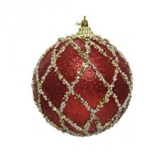 Red With Pearls, Glitter And Sequin Finish Bauble - 80mm