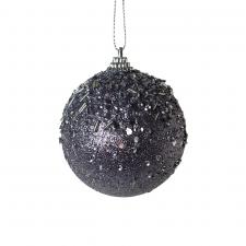 Warm Grey Glitter And Sequin Finish Bauble - 80mm