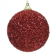 Shatterproof Bauble With Red Glitter Finish - 80mm