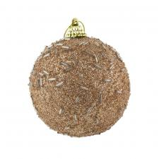 Shatterproof Bauble With Soft Caramel Glitter Finish - 80mm