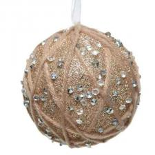 Beige Shatterproof Bauble With Wool Criss Cross Design And Acrylic Diamonds - 80mm