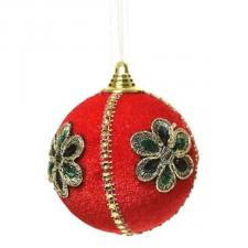 Opulent Red Velvet Bauble With Gold Thread Detail - 80mm