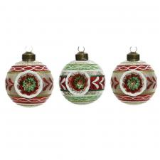 Box Of 3 Antique Finish Glass Reflector Baubles - 80mm