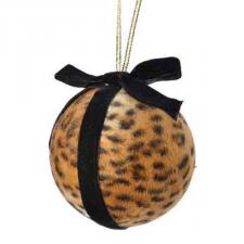 Brown Leopard Print Bauble With Black Ribbon - 100mm