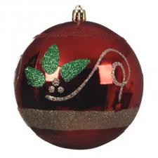 Red Shiny Shatterproof  Bauble With Glitter Berries & Leaves Design - 100mm