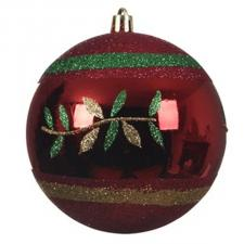 Red Shiny Shatterproof  Bauble With Glitter Leaves Design - 100mm