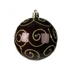 Ebony Brown Shatterproof Bauble Decorated With Glitter Swirls - 80mm