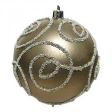 Pale Brown Shatterproof Bauble Decorated With Glitter Swirls - 80mm