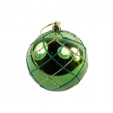 Green Shiny Shatterproof Bauble With Glitter Mesh Pattern - 80mm