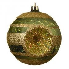 Traditional Design Dark Green Shiny Shatterproof Reflector Bauble With Gold Glitter Stripes - 80mm