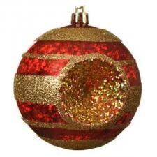 Traditional Design Red Shiny Shatterproof Reflector Bauble With Gold Glitter Stripes - 80mm