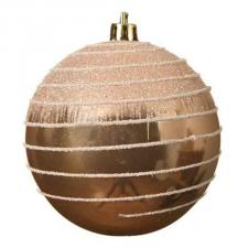 Beige Shatterproof Bauble With Glitter Stripes And Frosted Effect - 80mm