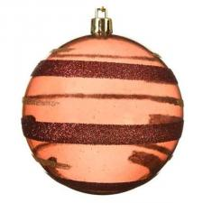Transparent Rosewood Tinted Bauble With Glitter Stripes - 80mm