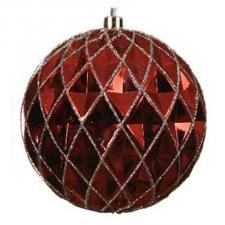Red Shiny Shatterproof Facetted Bauble With Silver Glitter - 100mm