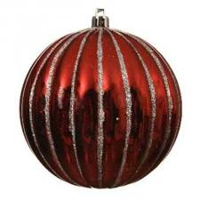 Red Shiny Shatterproof Ridged Bauble With Silver Glitter - 100mm