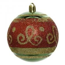 Dark Green Shiny Shatterproof Bauble With Red And Gold Glitter Design - 80mm