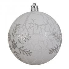 White Shatterproof Bauble With Silver Glitter Snowflake - 80mm