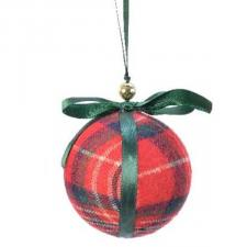 Fabric Tartan Bauble With Green Ribbon & Bow - 80mm
