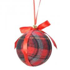 Fabric Tartan Bauble With Red Ribbon & Bow - 80mm