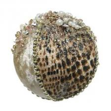 Opulent Cheetah Print Bauble With Sequins And Beads - 80mm