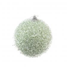 Decorative Sage Green Glitter Tinsel Bauble - 100mm