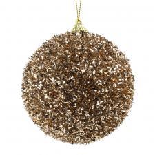 Decorative Soft Caramel Glitter Tinsel Bauble - 100mm