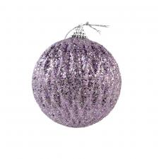 Ribbed Frosted Lilac Shatterproof Glitter Bauble - 80mm