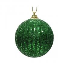 Ribbed Holly Green Shatterproof Glitter Bauble - 80mm