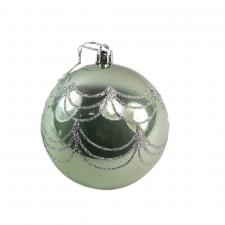Shiny Sage Green Shatterproof Bauble With Silver Glitter Design - 80mm