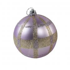 Shatterproof Decorated 80mm Bauble Range - Frosted Lilac With Gold Glitter Check Pattern