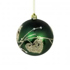 Shatterproof Decorated 80mm Bauble Range - Green With Gold Glitter Leaves