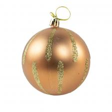 Shatterproof Decorated 80mm Bauble Range - Soft Caramel With Gold Glitter Stripes