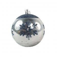 Shatterproof Decorated 80mm Bauble Range - Silver With Blue Glitter Snowflake