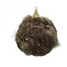 Decorative Bauble With Feathers - 80mm
