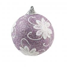 Frosted Lilac Glitter Bauble With Lace Flower Detail - 80mm
