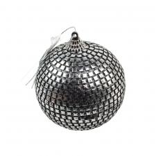 Silver Bauble With Square Bead Finish - 80mm