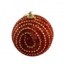 Red Sparkly Bauble With Gold Beads - 100mm