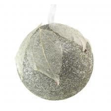 Grey Glitter Bauble With White Leaf Design - 80mm