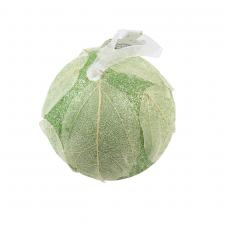 Sage Green Glitter Bauble With White Leaf Design - 80mm