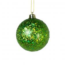 Green Shatterproof Bauble With Glitter Finish - 80mm