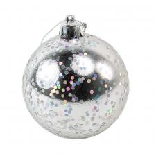 Silver Shatterproof Bauble With Glitter Finish - 80mm
