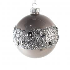 Decorated Pearl Grey Glass Bauble With Glitter Band - 80mm