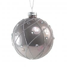 Decorated Pearl Grey Glass Bauble With Glitter & Gemstones - 80mm