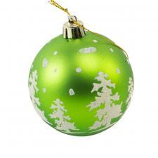 Matt Green Shatterproof Bauble With White Glitter Tree Design - 80mm