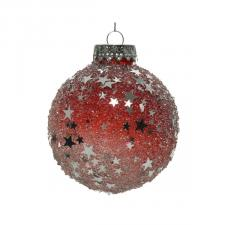 Red Shatterproof Bauble With Ice Effect And Silver Stars - 80mm