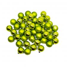 Lime Green Shatterproof Baubles - Pack Of 48 X 40mm