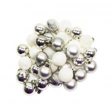White & Silver Shatterproof 33 Piece Decorating Pack