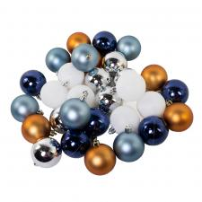 Pack Of Plain Blue, White, Silver & Dark Gold Mix Shatterproof Baubles - 32 X 30mm