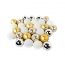 Pack Of Plain Silver, Ivory, Gold & Winter White Mix Shatterproof Baubles - 32 X 30mm