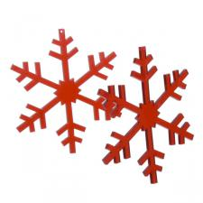 Acrylic Red Snowflakes With Hangers - 2 x 8cm